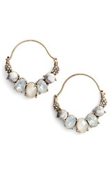 Jenny Packham Women's Wanderlust Hoop Earrings Gold White Multi