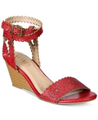 Xoxo Sissy Lasercut Demi Wedge Sandals Women's Shoes Red