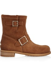 Jimmy Choo Youth Suede Biker Boots Brown