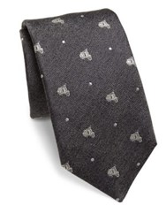 Saks Fifth Avenue Moped Silk Tie Grey