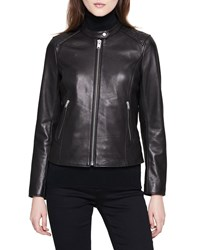 Marc New York Stand Collar Quilted Shoulder Leather Moto Jacket Black