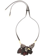 Marni Crystal Embellished Leather Necklace Black