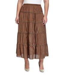 Go Silk Tiered A Line Skirt Bark