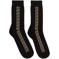 Versace Black And Gold Greek Key Socks