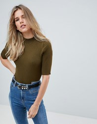 First And I High Neck Top Green