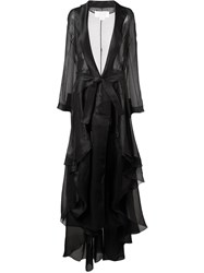 Antonio Berardi Long Belted Oversize Coat Black