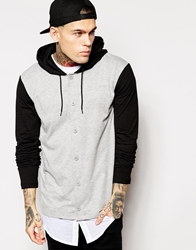 Asos Skater Long Sleeve T Shirt With Button Up And Hood Greymarlblack