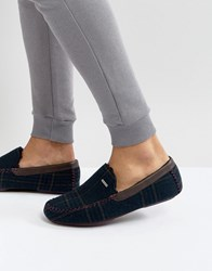 Ted Baker Morris Moccasin Checked Slippers Navy