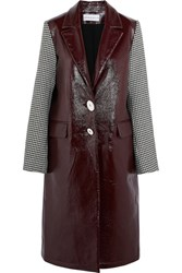 Wanda Nylon Houndstooth Tweed Paneled Textured Vinyl Coat Burgundy Usd