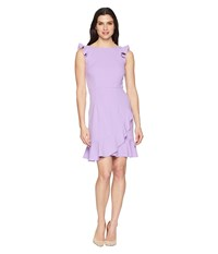 Donna Morgan Crepe Dress With Ruffle Skirt Lavender Purple