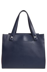 Treasure And Bond Accordion Leather Work Tote Blue Navy Dusk