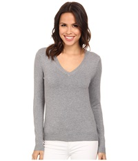 525 America V Neck Side Slit Heather Grey Women's Long Sleeve Pullover Gray
