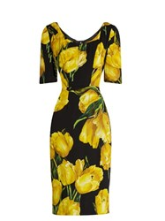 Dolce And Gabbana Tulip Print Silk Blend Charmeuse Midi Dress Black Multi