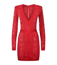 Balmain Long Sleeve V Neck Knit Dress Female Red