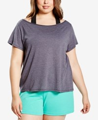 Soffe Curvy Plus Size Off The Shoulder Dance T Shirt Grey Heather