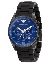 Emporio Armani Watch Men's Chronograph Black Silicone Wrapped Stainless Steel Bracelet Ar5921
