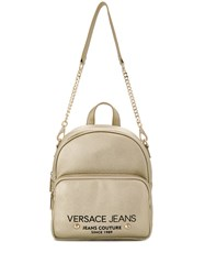 Versace Jeans Logo Zipped Backpack Gold