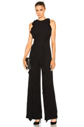 Jonathan Simkhai Fwrd Exclusive Ruffle Crepe Jumpsuit In Black