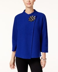 Jm Collection Petite Embellished Asymmetrical Wool Cardigan Only At Macy's Bright Sapphire