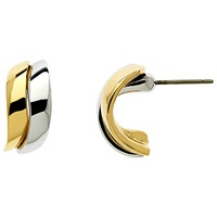 Finesse Gold Rhodium Plated Two Tone Wave Earrings Silver