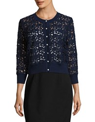 Karl Lagerfeld Open Floral Lace Cardigan Eclipse