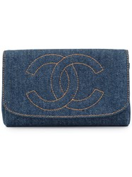 Chanel Vintage Cosmetic Pouch Bag Blue