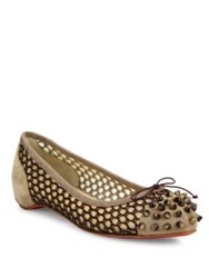 Christian Louboutin Mix Spiked Suede And Knotted Mesh Flats Beige Multi