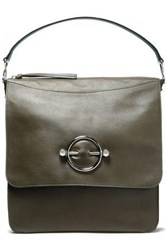 J.W.Anderson Woman Disc Leather And Suede Shoulder Bag Army Green