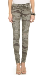 True Religion Halle Mid Rise Skinny Jeans Destroyed Camo