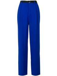Joseph Riska High Waisted Trousers Polyester Spandex Elastane Acetate Viscose Blue