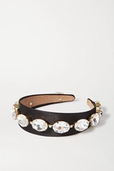 Rosantica Crystal Embellished Satin Headband Black