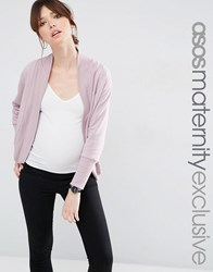 Asos Maternity Lounge Sweat Cardigan With Rib Lavender Purple