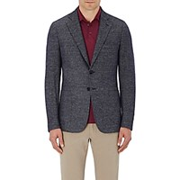 Isaia Men's Tweed Two Button Sportcoat Blue