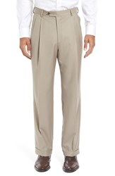 Berle Men's Pleated Solid Wool Trousers Tan
