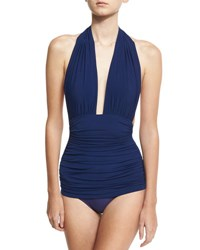 Norma Kamali Bill Ruched Halter Maillot Swimsuit Navy