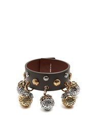Alexander Mcqueen Charm Embellished Leather Bracelet Black