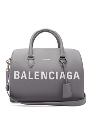 Balenciaga Ville Grained Leather Bowling Bag Light Grey
