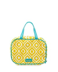 Neiman Marcus Ikat Print Under Glass Zip Cosmetic Case Yellow