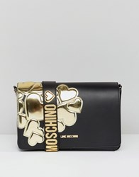 Love Moschino Shoulder Bag With Metal Heart Black Gold