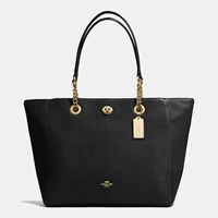 Coach Turnlock Chain Tote In Polished Pebble Leather Light Gold Black