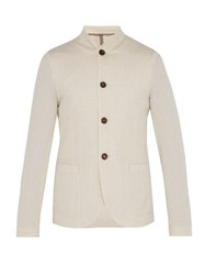 Harris Wharf London Band Collar Seersucker Jacket Beige