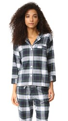 Sleepy Jones Marina Plaid Pajama Shirt Navy Green White
