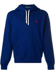 Polo Ralph Lauren Embroidered Logo Hoodie Blue