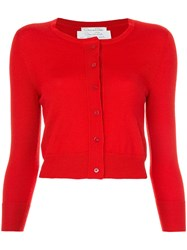 Oscar De La Renta Cropped Cardigan Red