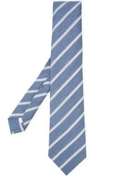 Isaia Classic Striped Tie Blue