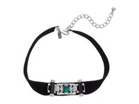 Kenneth Jay Lane 12 Black Velvet Choker With Deco Front And 4 Extender Chain Necklace Black Necklace