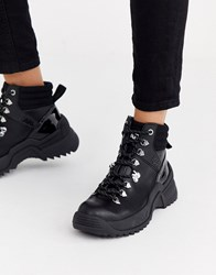 Karl Lagerfeld Lace Up Hiker Boots In Black Leather