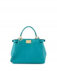 Fendi Peekaboo Mini Leather Satchel Bag Aqua Medium Red