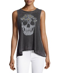Chaser Skull Daisies Flounce Tank Vintage Black