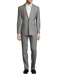 Versace Textured One Buttoned Wool Suit Light Grey